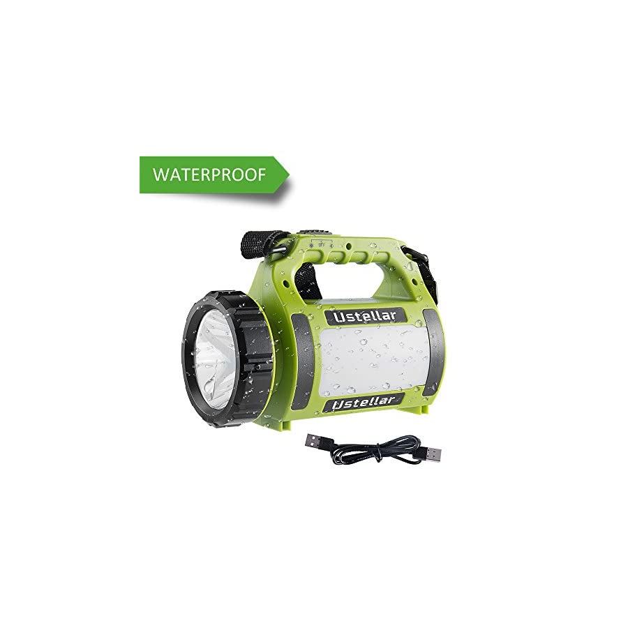 Ustellar Rechargeable CREE LED Spotlight, Multi Function Outdoor Camping Lantern Flashlight, Power Bank, Waterproof LED Searchlight with USB Cable, for Hiking Fishing Emergency