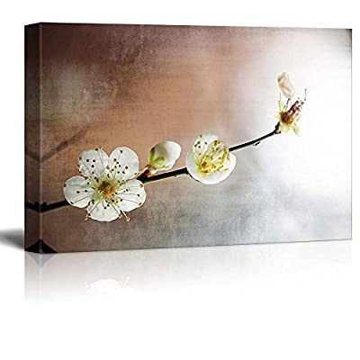Cherry Blossom Branch Over a Copper and Silver Background 12