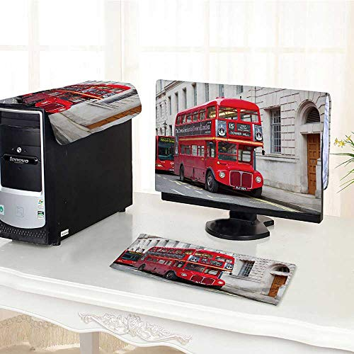 - UHOO2018 dust Cover for Computer 3 Pieces London February red Double Decker Bus Trafalgar Square in London on Febuary Suit Computer dust Cover /23