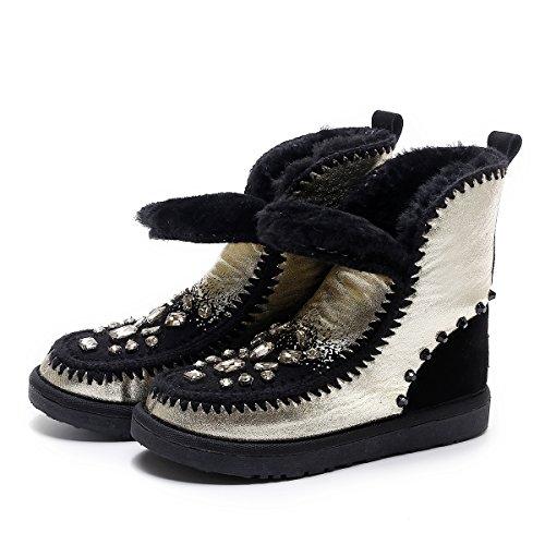 Rhinestone Sheepskin AIWEIYi Warm Fur Winter Black Booties Womens Gold Boots Snow boots 7wqf5ngxqA