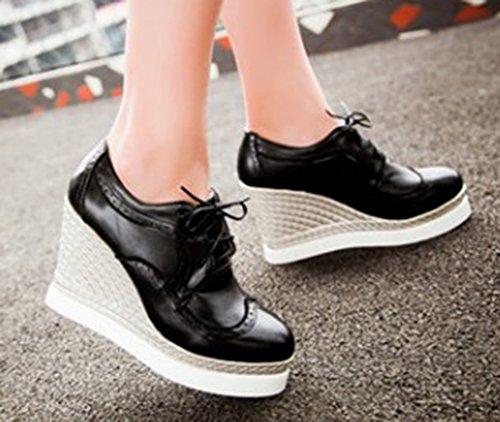 Sfnld Womens Fashion Lace Up Wedge Heel Pumps Sneakers Black TaVBgokb