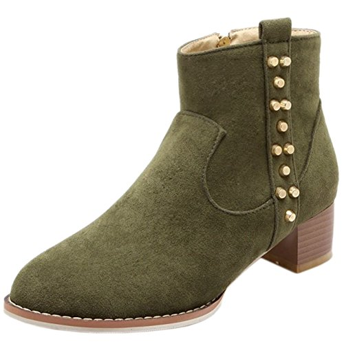 Side Heel Women Block Zipper High 380 Green Booties Boots Ankle Stylish KemeKiss B0qw7dtq