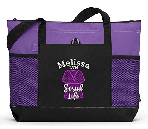 Scrub Life, RN, LVN, CNA, Personalized Embroidered Tote Bag with Mesh Pockets (Scrub Tote)