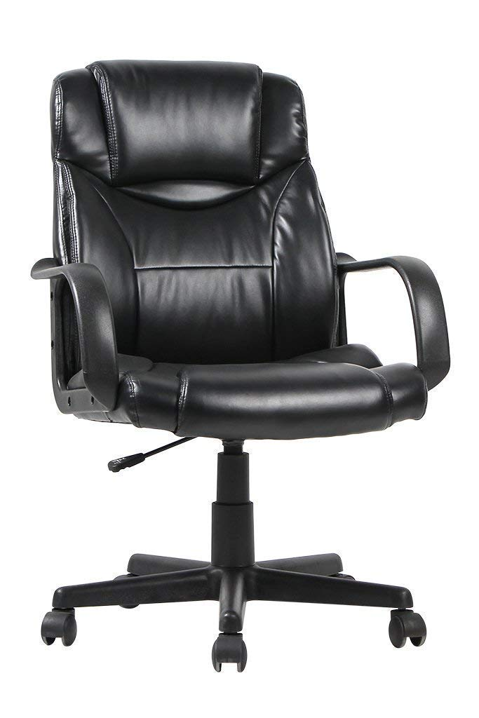 Executive Office Chair, Desk Chair, ICC Mid Back 250lb PU Leather Ergonomic Computer Task Swivel Chair with Wheels Arms. (Black) by ICC Furniture (Image #1)