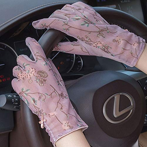 The New 2019 Fashion Summer Ice Silk Touch Screen Sunscreen Gloves Ladies Drive Riding Non-Slip Korean Version of The Thin Thin Short Gloves (Color : Dark Purple)
