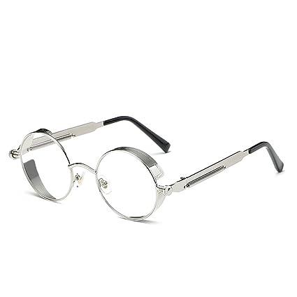 6773b9fdb AMZTM Outdoor Reading Glasses Fashion Retro Steampunk Small Round Metal  Frame Glass Lens Non-Polarized