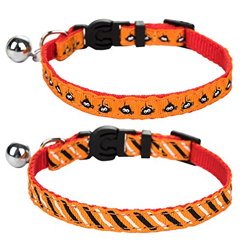 EXPAWLORER Halloween Cat Breakaway Collar with Bell for