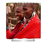 Pixels Shower Curtain (74'' x 71'') ''Maasai Women''
