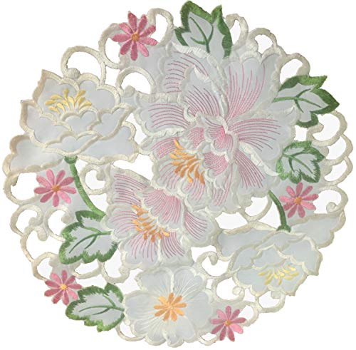 EcoSol Designs Flowery Table Placemats 15quot Round Spring Colors 4Pack