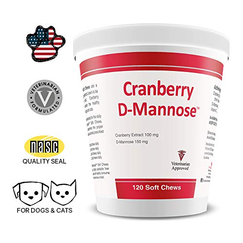 - PHS Cranberry D-Mannose Urinary Tract Support Supplement for Cats and Dogs - Cranberry Extract, D-Mannose, Vitamin C - Bladder and Urinary Tract Health - Made in USA - 120 Soft Chews