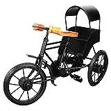 13''x9'' Iron Wooden Rickshaw, Decorative Metal 3 Wheeler Home Office, Artistic Miniature Tricycle Desks, Creative Gift Birthday, Anniversary, Christmas, Thanksgiving