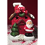 Large Ceramic Father Christmas Grotto House Tea Light Candle Holder by Mezzaluna Gifts