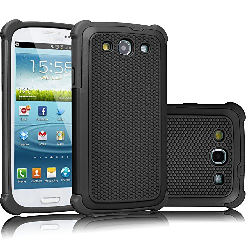 Galaxy S3 Case, Tekcoo(TM) [Tmajor Series] [Black/Black] Shock Absorbing Hybrid Rubber Plastic Impact Defender Rugged Slim Hard Case Cover Shell for Samsung Galaxy S3 S III I9300 GS3 All Carriers