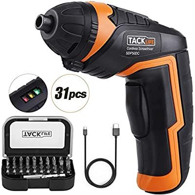 Electric Screwdriver, 4V MAX Cordless Screwdriver with 31pcs Bits, Micro USB Rechargeable, Adjustable LED Light, 3 Level Power Indicator, 2.0 Ah, Portable and Lightweight for Small Projects