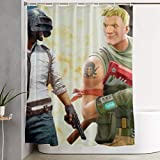 Shower Curtain Vs Shower Liner JJUSTING Fortnite-vs-pubg-Revenue Shower Curtain, Waterproof Polyester Fabric Shower Curtain Sets Decoration Decor 60x72 Inch for Men and Women