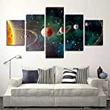SwmArt 5 Piece Solar system, planets, Earth Sciences by satellite Cosmos silk Canvas posters, children bedroom decoration posters science(60''W x 32''H, Framed)
