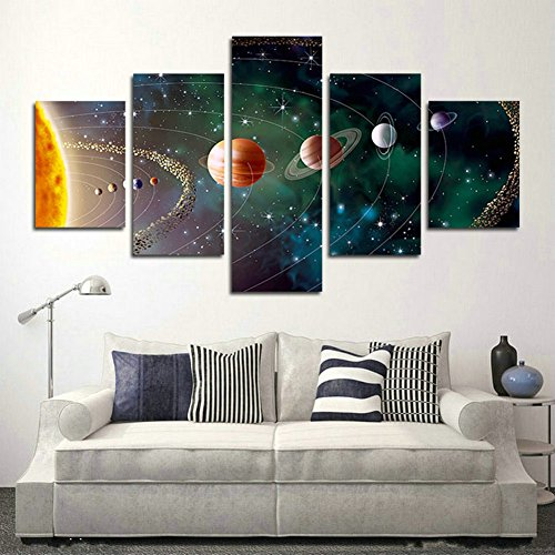 SwmArt 5 Piece Solar system, planets, Earth Sciences by satellite Cosmos silk Canvas posters, children bedroom decoration posters science(50''W x 28''H, Framed) by SwmArt