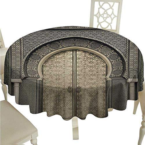 Iron Entrance Aged - crabee White Round Tablecloth Moroccan,Aged Gate Geometric Pattern Doorway Design Entrance Architectural Oriental Style,Sepia Black D60,for Wedding Reception Nave Blue