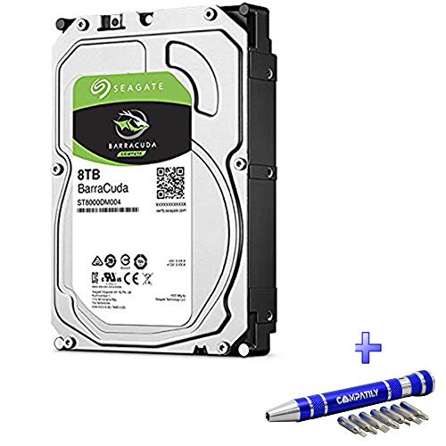 "Price comparison product image Seagate Barracuda 8TB 7.2K SATA 6Gb / s 256MB Cache 3.5"" / 512e / ST8000DM004 / HDD Bundle with COMPATILY Aluminum Hard Drive Carrier Screw Kit (Certified Refurbished)"