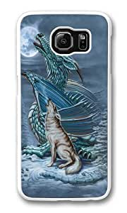 Samsung Galaxy S6 Case and Cover -Dragon Wolf Moon PC case Cover for Samsung S6 and Samsung Galaxy S6 White