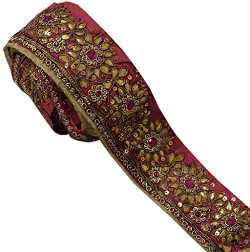 Vintage Sari Border Indian Craft Trim Hand Beaded Gota Patti Ribbon Lace Pink