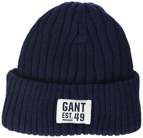 Gant Rib Beanie, Gorro de Punto para Hombre Azul (Evening Blue 433)