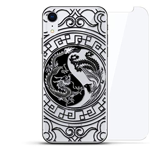 - Fantasy: Phoenix VS Dragon Black Ying YANG | Luxendary Un-Case Series Designer Glass Back-Plate Bundled with Front Glass Screen Protector for iPhone XR