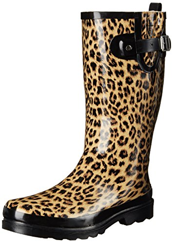 Western Chief Women's Printed Tall Rain Boot, Leopardess, 6 M (Leopard Rain Boots)