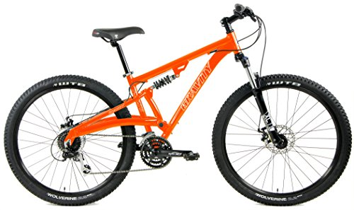 650b Dual Suspension Mountain Bike Shimano Alivio 24 Speed (Orange, 21 inch = Large/XLrg | Standover = 30.75