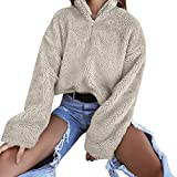 Women Fuzzy Sweater, Shybuy Women's Fleece Pullover Hoodie Fashion Sweater Solid Color Zippered