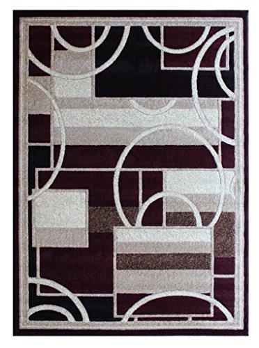 Americana Modern Area Rug Burgundy Geometric Design 115 (8 Feet X10 Feet 6 - Area Burgundy Rug Modern Geometric
