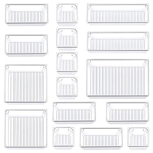 Kootek 16 Pcs Desk Drawer Organizer Set 5-Size Bathroom Drawer Tray Dividers Versatile Storage Bins Plastic Vanity Trays…