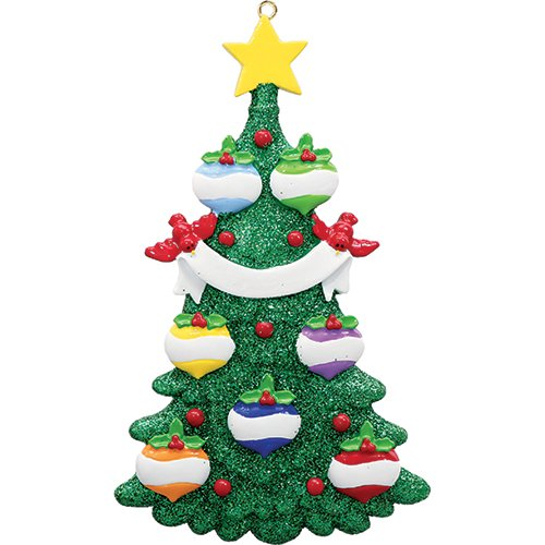 Personalized Green Glitter Tree Family of 7 Christmas Ornament 2018 - Colorful Baubles Decorated Star Ribbon by Cardinal - Parents Children Friends Fun Holiday Tradition - Free Customization (Seven)