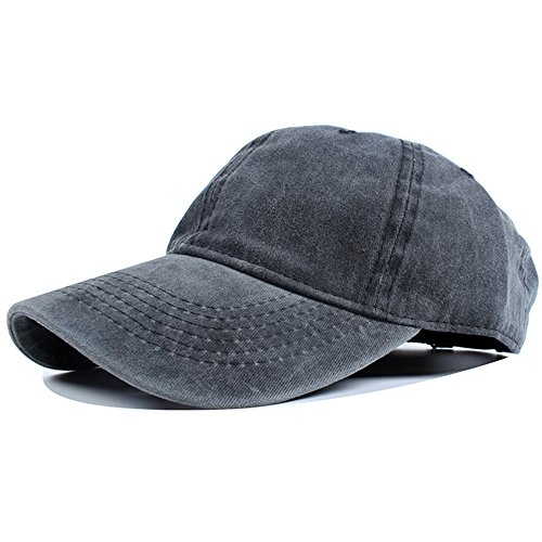 Vankerful Unisex Vintage Washed Dyed Dad Hat Plain Cotton Twill Low Profile Adjustable Solid Colour Baseball Cap Strapback (Washed Black)