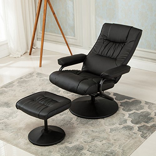 Recliner Chair Black Faux leather With Ebook