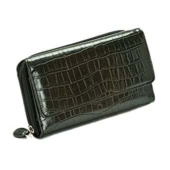 Mundi Big Fat Flap Wallet Croco Embossed (Black)