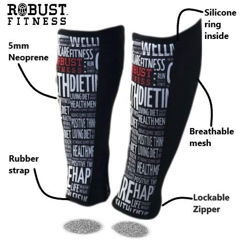 - ROBUST FITNESS Shin Guards, 1 Pair, Protection & Compression, Quick to Dry, 5mm Neoprene Front, Breathable Back (Black/Word Art, Medium)
