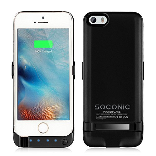 innovative design 7e750 191ee Newest Slim iPhone 5 SE 5S Extended Battery Case,Soconic 4200mAh Portable  Charger Power Bank Case with Pop-out Viewing Stand 4 LED Lights [With A ...