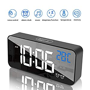 Fuhuim LED Display Digital Alarm Clock with USB Port Charger,Dual Alarms,Temperature Detection,Adjustable Brightness, Battery Back Up,Clock for Bedroom Travel Alarm Clock (Black)