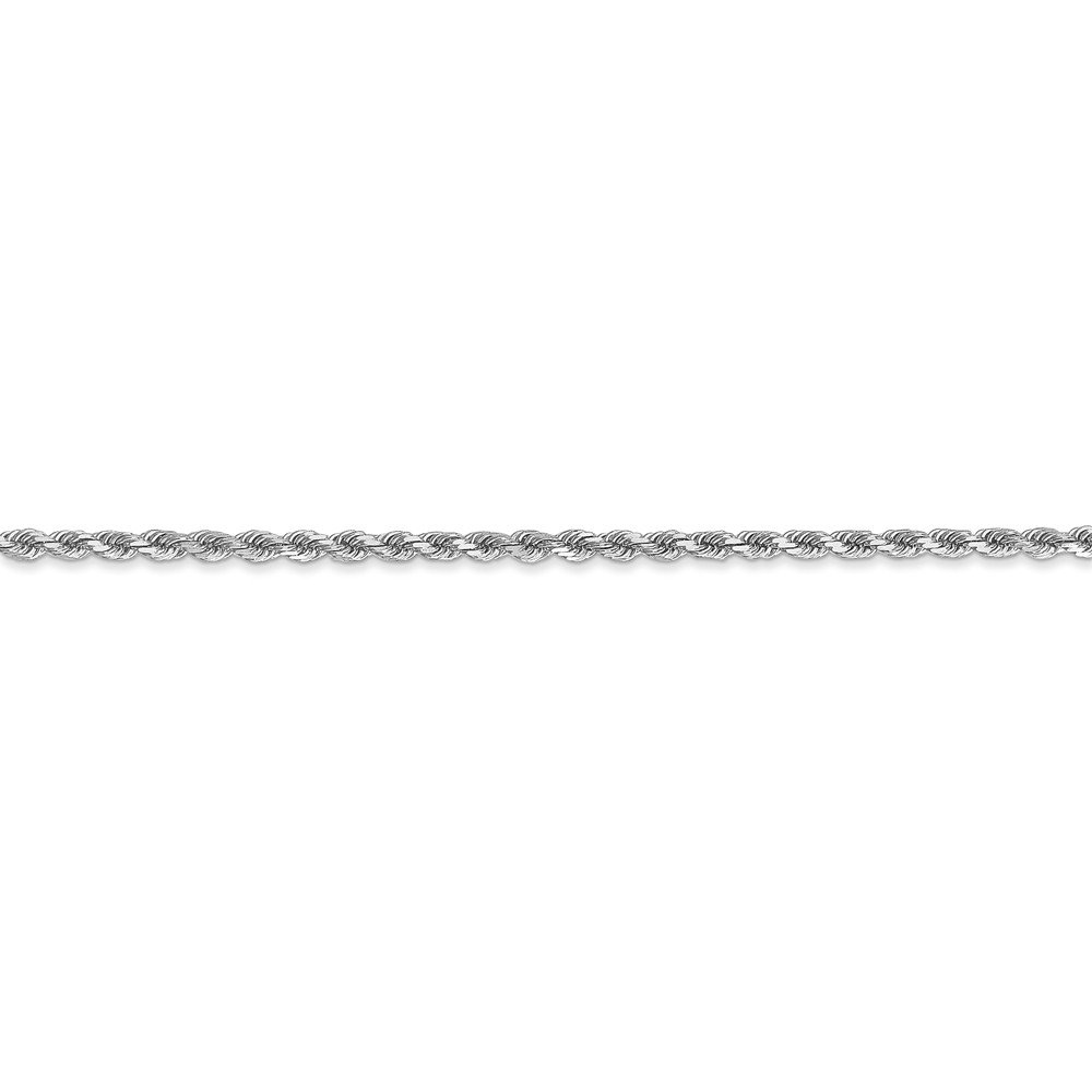 6 inches 14K White Gold 2.00MM Diamond-Cut Rope Link Bracelet