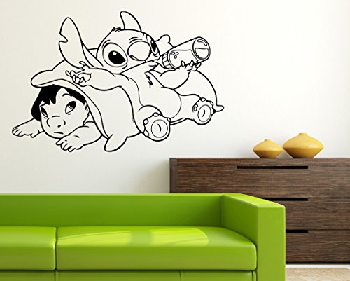 (Stitch & Lilo Wall Art Walt Disney Vinyl Sticker Lilo & Stitch Wall Vinyl Decal Decor for Home Baby Chids Kids Room Image)