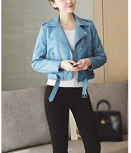 Imitacion Slim Invierno Mujeres Outwear de Chaqueta Chaquetas Cazadoras azul Cuero Cuero PU Fit Moto 04HqxzBHn