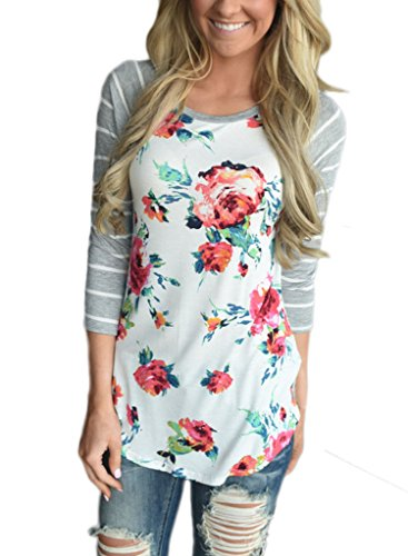 Dearlovers Long Sleeve Tshirt 3 4 Sleeve Floral Blouse Tops For Women Medium Size (3/4 Sleeve Floral Blouse)
