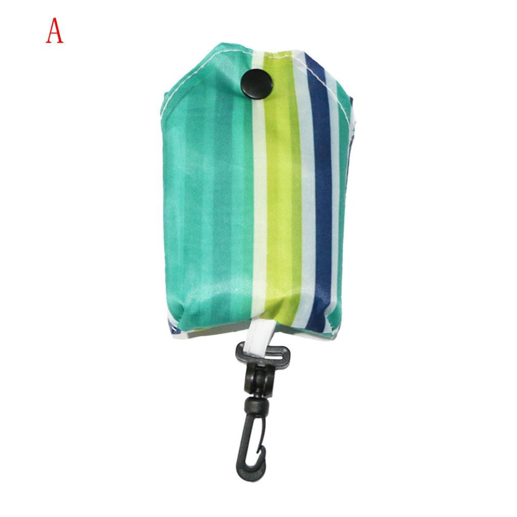 Ouneed Handy Fold Up Shopper/Pack Away Re-usable Shopping Bag Foldable Key Chain Tote Pouch Handbag Nylon Eco Grocery Storage Bags (A) Ouneed-