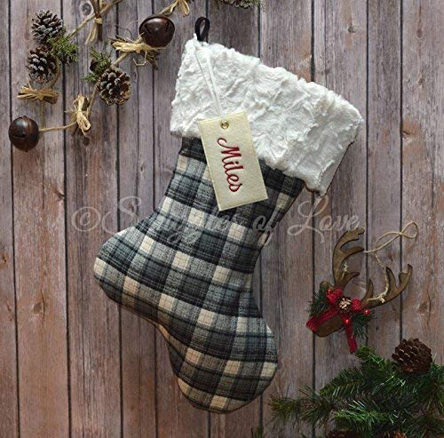 personalized plaid christmas stocking black grey gray and ivory cream flannel check with plush fur