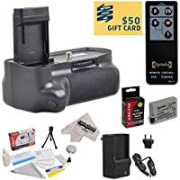 Opteka (4516B001) BG-E8 BGE8 Replacement Vertical Battery Grip for the Canon EOS Rebel T2i T3i T4i T5i 550D 600D 650D 700D Kiss X4 X5 X6 X6i X7i DSLR Digital Camera Includes 2 Extended Life Canon LP-E8 LPE8 Replacement Battery Packs (2000MAH Each 4000MAH in Total) + 1 hour AC/DC Rapid Battery Charger + Wireless Shutter Release Remote Control + Deluxe Lens Cleaning Kit + LCD Screen Potectors + Mini Tripod + 47stphoto Microfiber Cloth Photo Print ! Overview Review Image