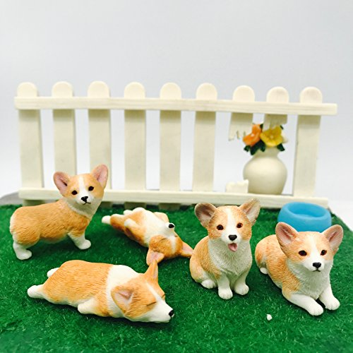 5-Pack Pembroke Welsh Corgi Sculpture Figurine Toy, Hand-made and painted Pet Portrait Dog Statue Ornament Memorial Decoration, Corgi Collectibles, Pembroke Welsh Corgi Art (Corgi 5-Pack) (Welsh Corgi Figurine)