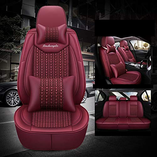 Leather Ice-Silk Car Seat Cover- Anti-Slip Suede Backing Universal Fit Car Seat Cushion for Both Fabric And Leather Car Seats,Red: