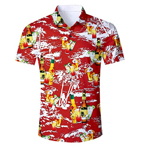 Cutemefy Mens Hawaiian Shirt Aloha Tropical Print Floral Short Sleeve Button Down Shirt
