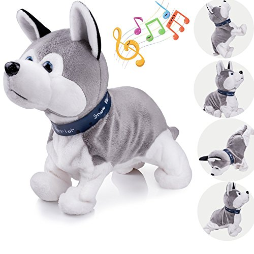 Marsjoy Interactive Puppy Plush Animated Walking Pet Electronic Dog Cute Robot Dog Baby Toys Sound Control Plush Husky Stuffed Animal Dog Toy Toddler kids Girl Toys Tumbling, Clapping hands, Bowing